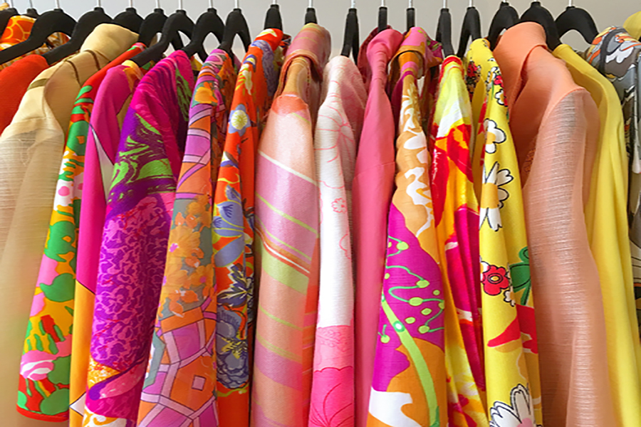 Bright clothes on a rack