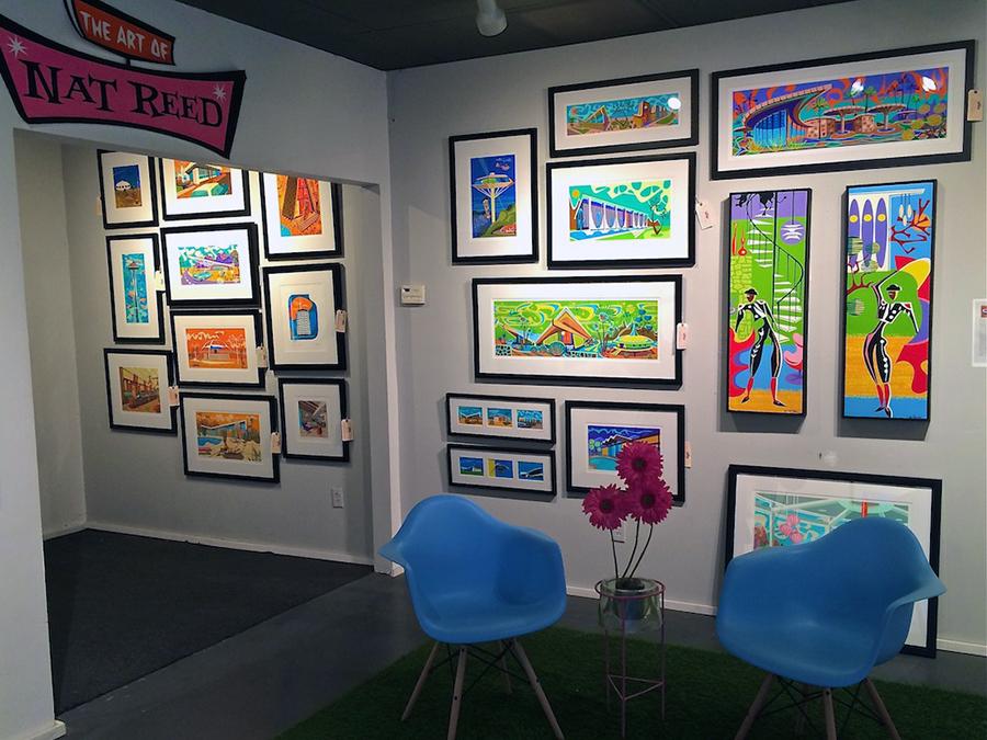 Art on walls at Nat Reed art gallery