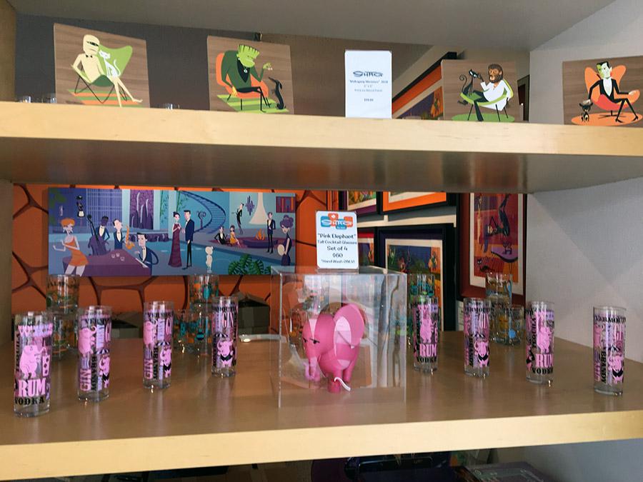 Shag art merchandise on shelves